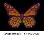 embroidery crewel yellow orange ... | Shutterstock .eps vector #574493938