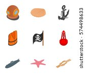 Pirate Icons Set. Isometric 3d...