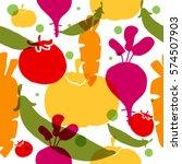 vegetable seamless pattern.... | Shutterstock .eps vector #574507903