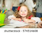 adorable child girl drawing... | Shutterstock . vector #574514608