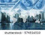 double exposure global world...   Shutterstock . vector #574516510