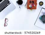 modern white office desk table... | Shutterstock . vector #574520269