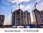 two building cranes at the... | Shutterstock . vector #574531108