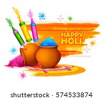 illustration of colorful happy... | Shutterstock .eps vector #574533874