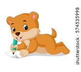 cartoon chipmunk holding pencil | Shutterstock .eps vector #574535998