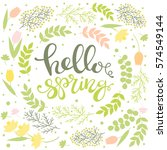 hello spring   greeting card.... | Shutterstock .eps vector #574549144