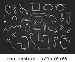 hand drawn arrows set on the... | Shutterstock .eps vector #574559596