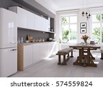 3d rendering of modern kitchen... | Shutterstock . vector #574559824