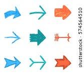 set of nine color arrow sign... | Shutterstock .eps vector #574564510