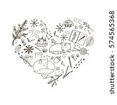 cozy winter hand drawn elements ... | Shutterstock .eps vector #574565368