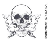 vaping skull art vector... | Shutterstock .eps vector #574565764