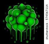Cluster Of Fluid Green Spheres...