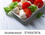 mozzarella with tomato and...   Shutterstock . vector #574567876