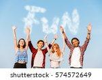 multiethnic group of happy... | Shutterstock . vector #574572649