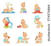 adorable girly cartoon babies... | Shutterstock .eps vector #574576864