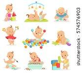adorable girly cartoon babies... | Shutterstock .eps vector #574576903