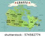 illustrated map of canada. | Shutterstock .eps vector #574582774