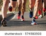 marathon running in the light... | Shutterstock . vector #574583503
