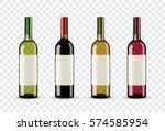 Set Of Wine Bottles Isolated O...