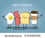 best friends. breakfast.... | Shutterstock .eps vector #574590550