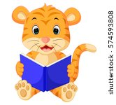 tiger reading book | Shutterstock .eps vector #574593808