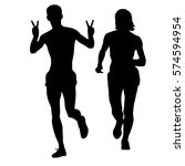 set of silhouettes. runners on... | Shutterstock . vector #574594954