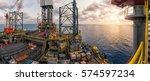 silhouette of oil rig  oil jack ... | Shutterstock . vector #574597234