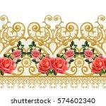 seamless pattern. golden...   Shutterstock . vector #574602340