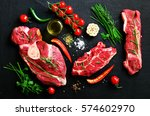 raw fresh meat steak with... | Shutterstock . vector #574602970