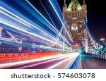 light trails along tower bridge ... | Shutterstock . vector #574603078