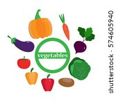 set fresh vegetables  pumpkin ... | Shutterstock .eps vector #574605940