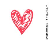 hand drawn vector heart with... | Shutterstock .eps vector #574607374