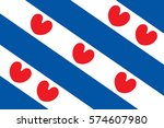 flag of friesland or frisia is... | Shutterstock .eps vector #574607980