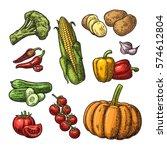 set vegetables. cucumbers ... | Shutterstock .eps vector #574612804