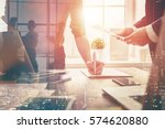man and woman working in the... | Shutterstock . vector #574620880