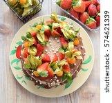 chocolate banana cake  | Shutterstock . vector #574621339
