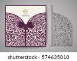 laser cut invitation card.... | Shutterstock .eps vector #574635010