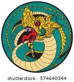 hand drawn thai dragon in... | Shutterstock .eps vector #574640344