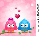 couple of cute birds in love... | Shutterstock .eps vector #574643008
