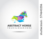Stock vector abstract horse logo template polygon style vector illustrator eps 574643206