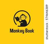 monkey book logo template.... | Shutterstock .eps vector #574646389