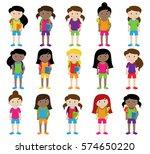 collection of cute and diverse... | Shutterstock .eps vector #574650220