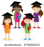 collection of cute and diverse... | Shutterstock .eps vector #574650310