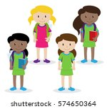 collection of cute and diverse... | Shutterstock .eps vector #574650364