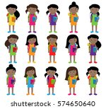 collection of cute and diverse... | Shutterstock .eps vector #574650640