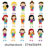 collection of cute and diverse... | Shutterstock .eps vector #574650694