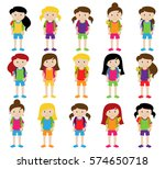 collection of cute and diverse... | Shutterstock .eps vector #574650718