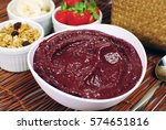 bowl of brazilian acai and... | Shutterstock . vector #574651816