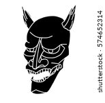 oni mask tattoo  black and... | Shutterstock .eps vector #574652314