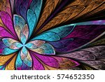 beautiful fractal flower or... | Shutterstock . vector #574652350